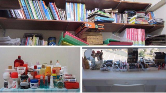 Os livros, cosméticos e produtos de maquiagem que Fernanda acumulava antes de conhecer o minimalismo