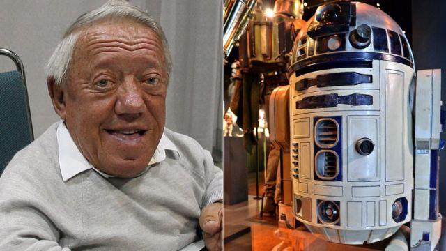 Kenny Baker en 2007 y la imagen de R2-D2