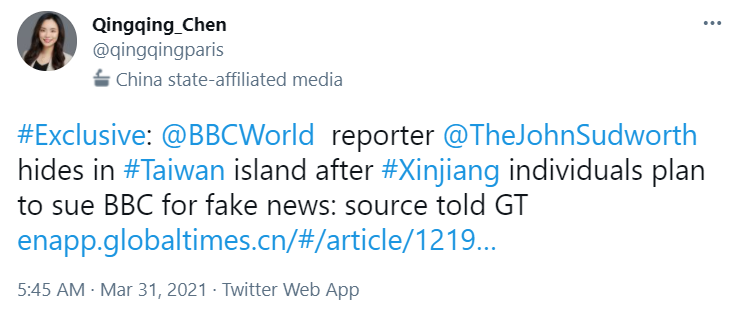 A tweet from a Chinese Global Times reporter