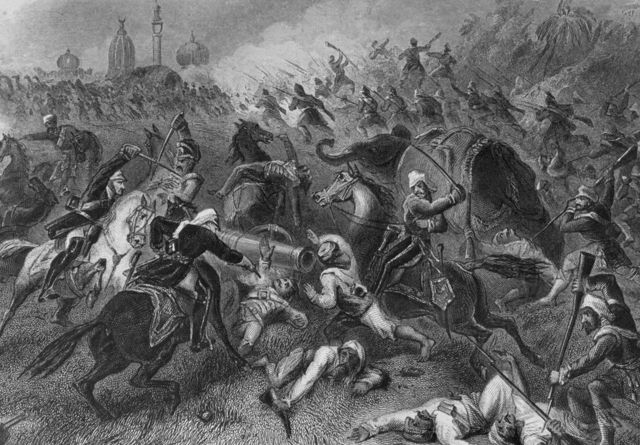 Битва в Канпуре в 1857 году. Там были убиты все жители гарнизона, в том числе женщины и дети