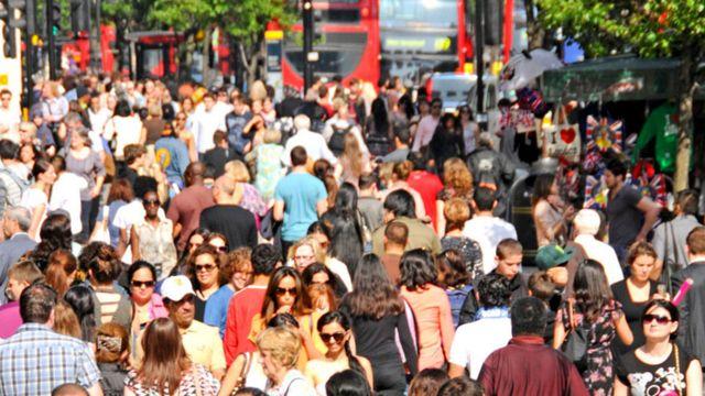 A crowd scene in London