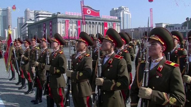 The parade this year marks the 70th anniversary of the foundation of the Korean People's Army
