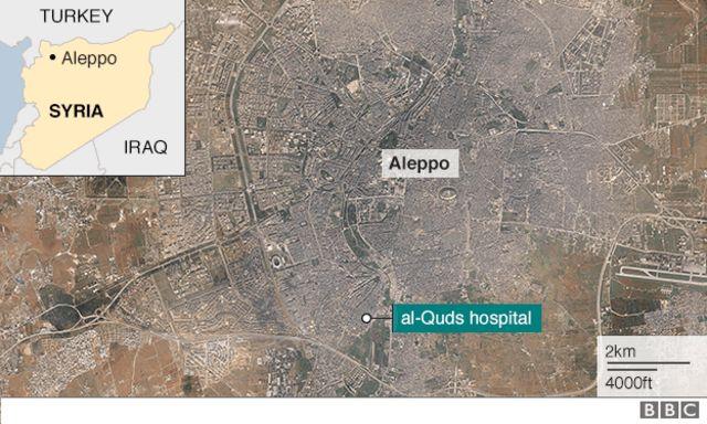 アレッポの地図。緑印が空爆を受けた病院