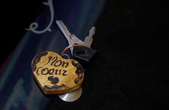 Key ring that says 'my heart'