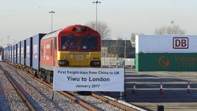 第一列从中国浙江义乌市启程的货运列车今年1月抵达伦敦