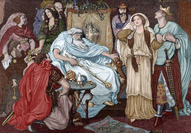 Grabado de escena del Rey Lear, obra de Ford Madox Brown