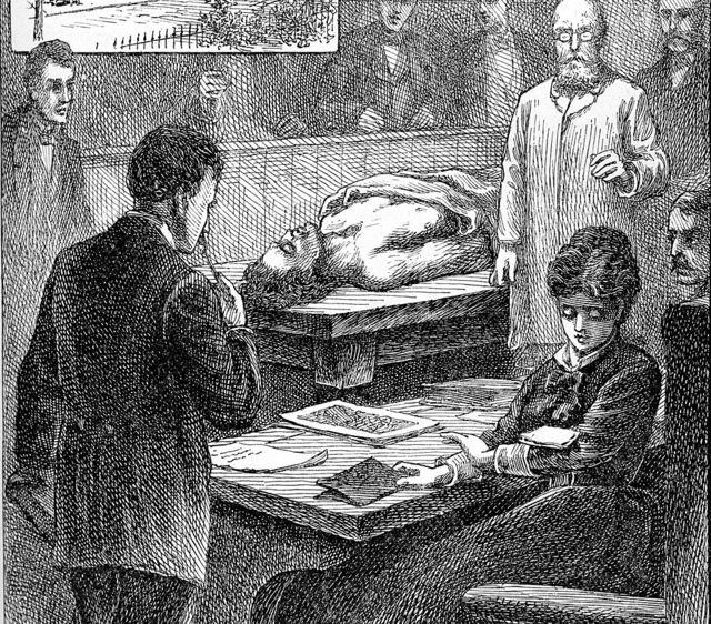 """Un'illustrazione del 1847 che mostra Blackwell al Medical College di Ginevra mentre legge una nota """"Molto sfacciato"""" Uno studente è caduto su un braccio durante una lezione in sala operatoria."""