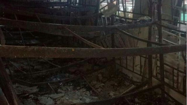 Scorched beds inside the school
