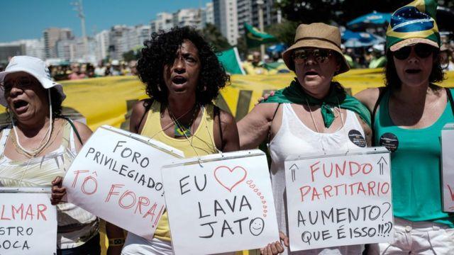 Mulheres em protesto contra corrupção em Copacabana