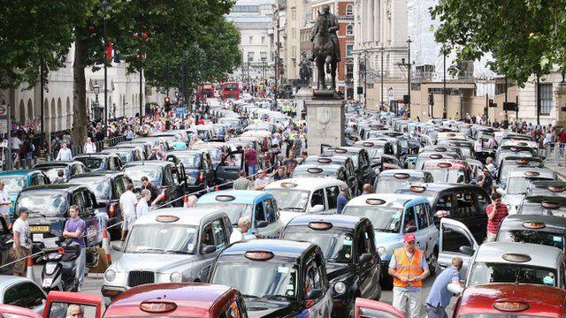 Black cab protest in London
