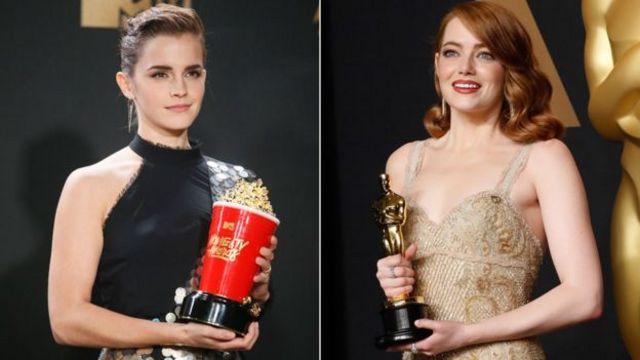 엠마 왓슨과 엠마 스톤. 왓슨은 영화 '미녀와 야수'로 MTV 무비 어워드를 수상했고, 스톤은 영화 '라라랜드'로 오스카상을 받았다