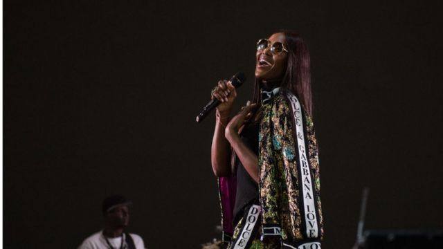 Naomi Campbell on stage during AFROREPUBLIK festival for O2 Arena on May 26, 2018 in London, England