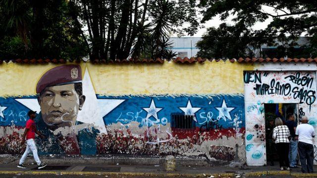 Un mural de Chávez en Caracas.
