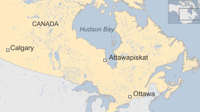 Mapa que muestra la ubicación de Attawapiskat