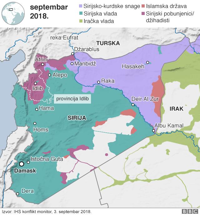 mapa provincije idlib u siriji