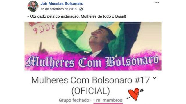 Postagem de 15 de setembro de 2018 na página de Facebook de Bolsonaro mostra foto dele e texto: 'Obrigada pela consideração, mulheres de todo o Brasil!'