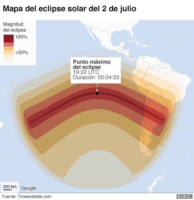 Mapa del eclipse total del 2 de julio
