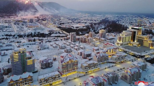 A photo released by the official North Korean Central News Agency (KCNA) shows a general view over Township of Samjiyon County