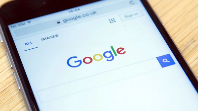 Google search page shown on smartphone