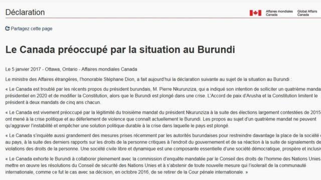 Le gouvernement canadien se dit préoccupé par les récents propos du président burundais