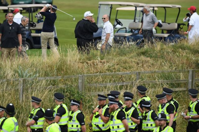 Trump returned to his golf resort in Scotland on his most recent visit to the UK