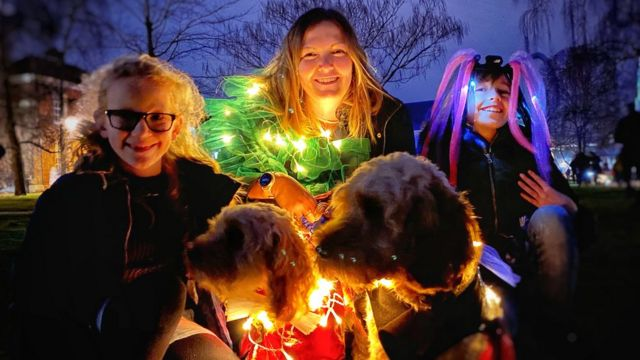 Dog owners created illuminated costumes for their four-legged friends