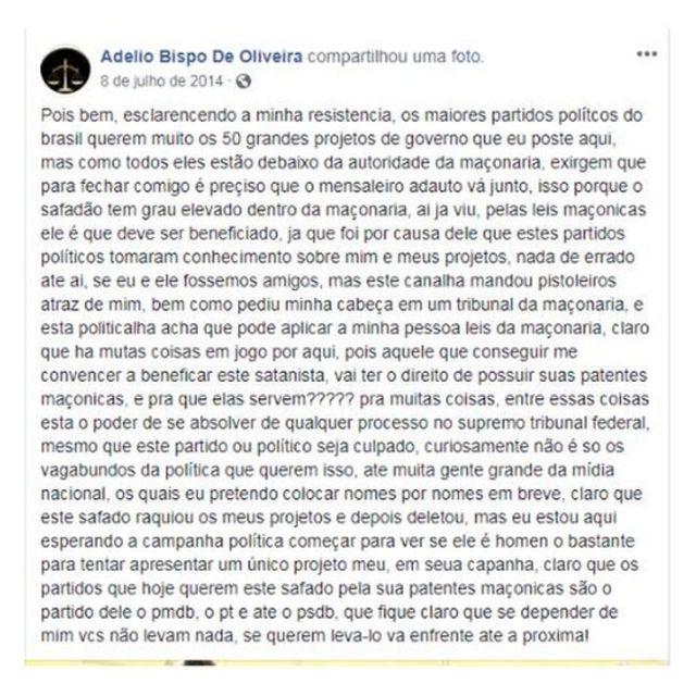Facebook de Adelio Oliveira