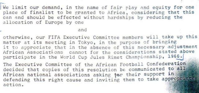 FIFA жетекчилигине жазган африкалык өлкөлөрдүн футбол бирикмесинин каты.