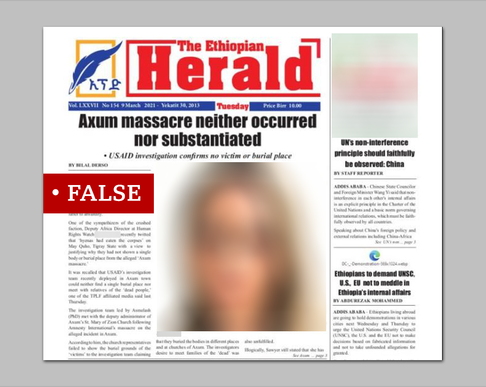 Screenshot of Ethiopian Herald front page, with 'False' banner