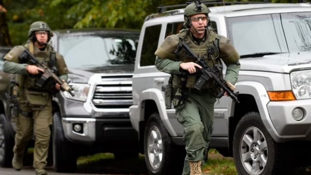 Police officers at the scene of the shooting in Pittsburgh