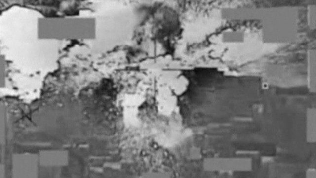 Video image of US air strike on Mosul bank