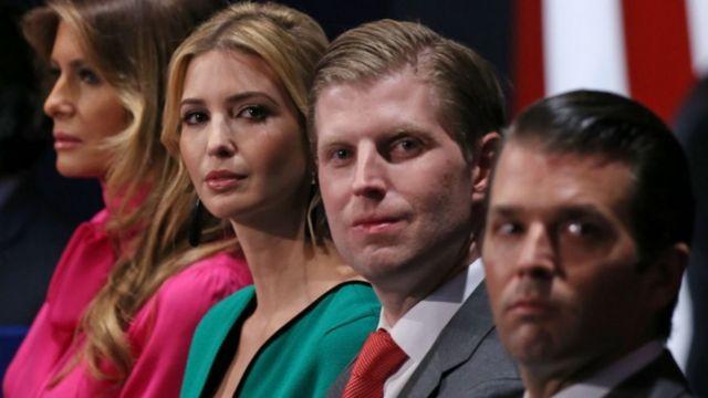Члены семьи Трампа: жена Мелания, дочь Иванка и сыновья
