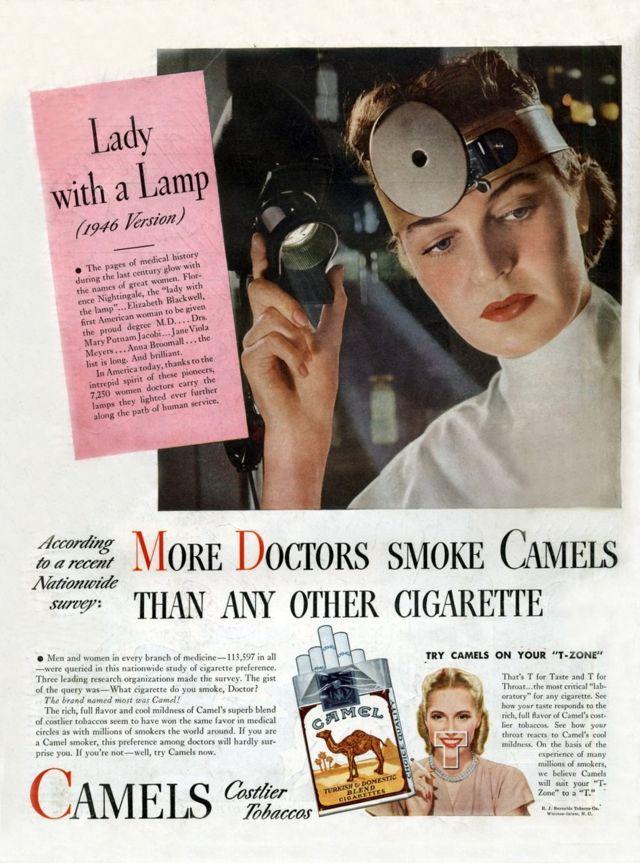 """""""Diğer sigaralardan daha fazla doktor deve içiyor"""", 1946'da sigara reklamı"""