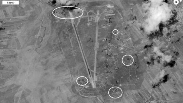 الولايات المتحدة استهدفت قاعدة الشعيرات بعد هجوم الطائرات السورية على بلدة خان شيخون