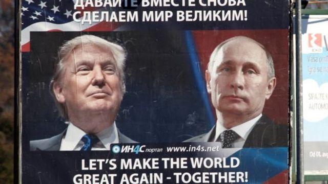 Poster en ruso con las caras de Trump y Putin.