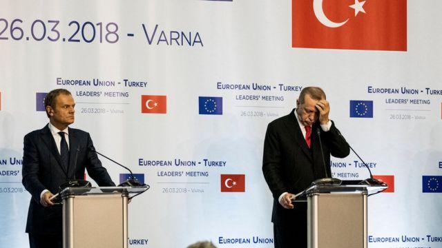 Avrupa Konseyi Başkanı Donald Tusk ve Cumhurbaşkanı Recep Tayyip Erdoğan