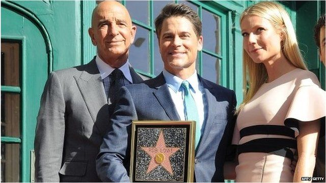 Rob Lowe (centre) with Gwyneth Paltrow (right) and Chairman of Miramax, Tom Barrack (left)