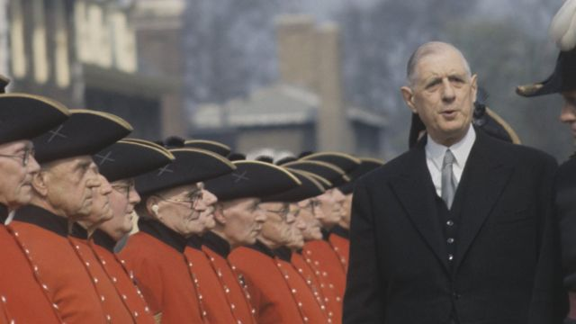 French President Charles de Gaulle inspecting the Chelsea Pensioners in London during a state visit to Great Britain, April 1960