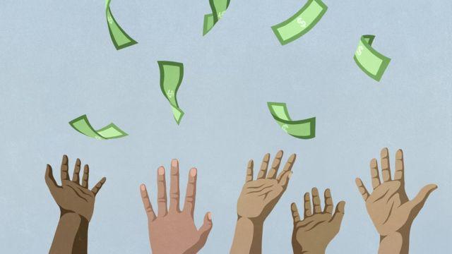 Hands catching money