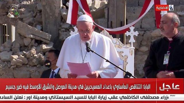 پاپ در ویرانههای کلیسای حوش البیعه مراسم دعا برگزار کرد