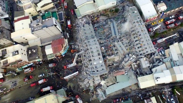 Aerial picture shows a site where buildings collapsed after a powerful earthquake hit Tainan, southern Taiwan