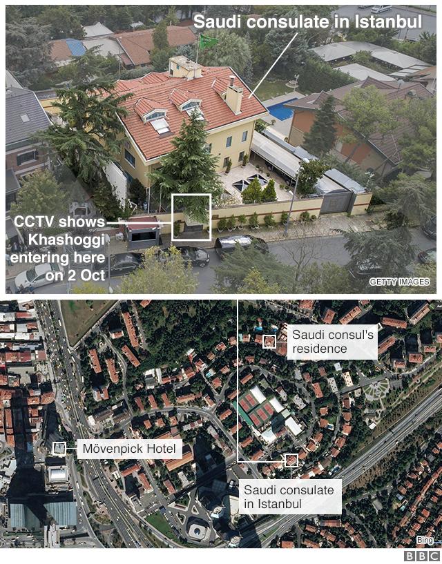 カショジ氏が最後に確認された監視カメラとサウジ総領事館の位置関係(上図)。下図はイスタンブールのサウジ総領事館と総領事公邸、「殺人部隊」とみられる男らの滞在したホテルの位置関係