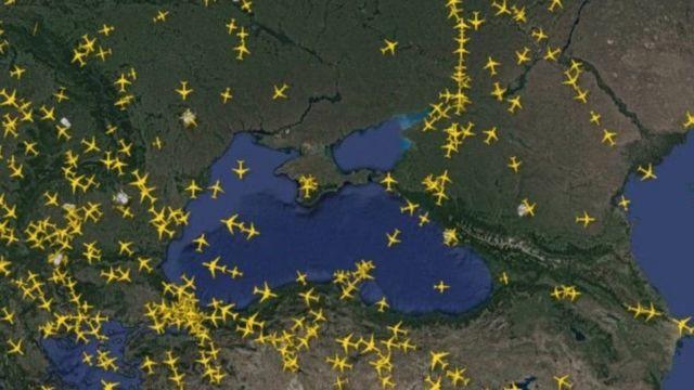 Східну Україну, Крим і північ Чорного моря міжнародні авіакомпанії зараз намагаються облітати стороною