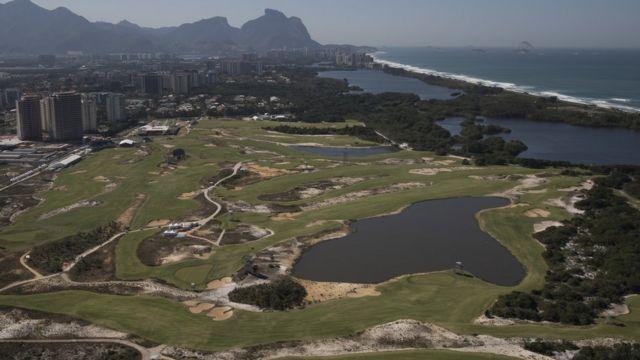 Vista aérea do Campo Olímpico de Golfe no Rio de Janeiro