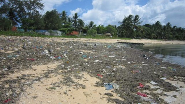 South Tarawa's beaches are strewn with rubbish