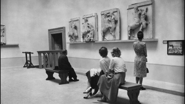 Mármore da Acrópole no Museu Britânico em Londres, 1949