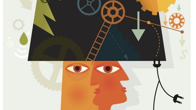 Imagem com traços abstratos mostra duas cabeças com engrenagens, fios e tomadas em volta. sugerindo a mente como uma maquinaria