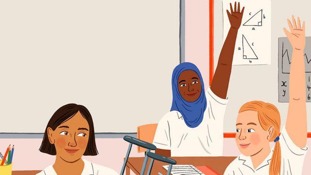 Ilustración que muestra tres niñas en la escuela