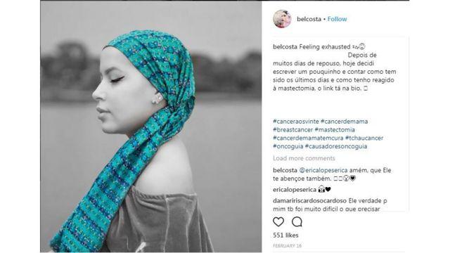 Uma das postagens de Isabel Costa sobre a batalha contra o câncer de mama