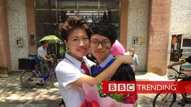 Huang Yang asked her girlfriend Wang Xiaoyu to marry her at a graduation ceremony at Guangdong University of Foreign Studies in China.